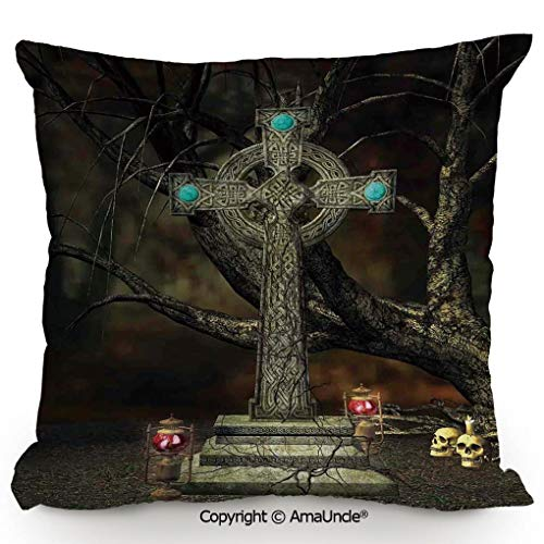 SCOXIXI Decorative Square Throw Pillow Case with Cotton and Linen,Gothic Cross Tree Grave Skulls Tombstone Lanterns Graveyard Night Art Decorative,W16xL16 Inches