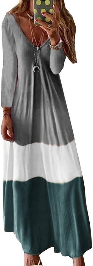Odot Vestidos Largos Casual Tallas Grandes Manga Larga Mujer Boho Suelto Comodo Chic V Cuello Vestido Fiesta Elegante Sexy Para Fiesta Verano Playa Cocktail Tobilleras Amazon Es Ropa Y Accesorios