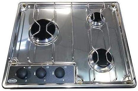 Eno – Placa de cocción eno acero inoxidable, 3 Fuegos, Gas Butano ...