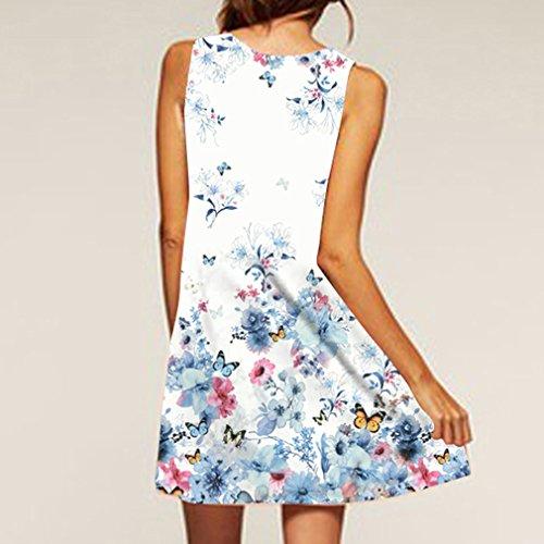 Verano de de Mangas Blanco Sin Redondo la Honghu de amp;azul del la Claro5 Mujeres Vendimia Impresión Cuello las Vestido O5FfwFq7