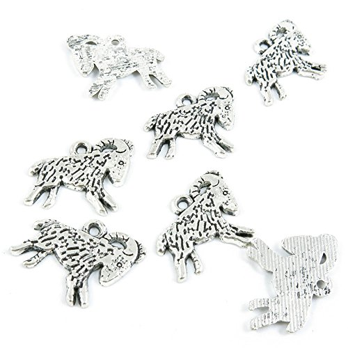 Qty 30 Pieces Antique Silver Tone Jewelry Making Supply Charms Findings I4KW6 Capricorn Goat ()