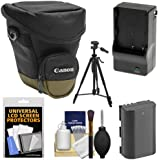 Canon Zoom Pack 1000 Digital SLR Camera Holster Case with LP-E6 Battery & Charger + Tripod + Accessory Kit for EOS 70D, 80D, 5D Mark II III IV, 5DS, 5DS R, 6D, 7D Mark II