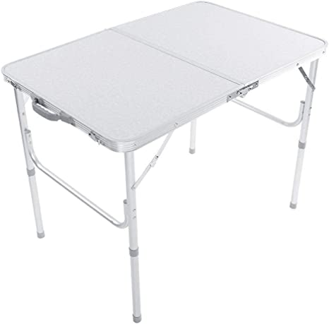lyrlody Mesa Plegable Multifuncional Tipo Maleta, Mesas de Picnic de Patio de Aluminio Aleación con Altura Ajustable, 90 x 60 x 69.5cm