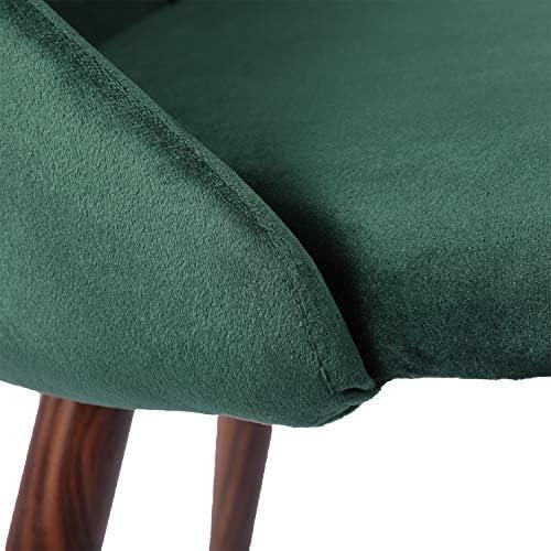 LiePu Lot de 4 Chaises Salle à Manger en Tissue Velours Rétro, Chaise de Cuisine Rembourrée avec Pied en Métal pour Salon Chambre, Vert Foncé