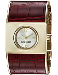 Nine West Womens NW/1926SVBY Gold-Tone and Burgundy Croco-Grain Bangle Watch