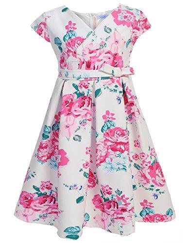 Arshiner Little Girls Round Neck Sleeveless Flower Print Back Zipper Pleated Dress with (Floral Print Belt)
