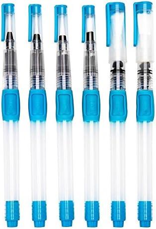 Yosoo 6本セット 水筆ペン 水筆 水彩ブラシ ウォーターブラシ フィス水筆ペン アーティスト用 水墨画 習字などに使える(ブルー)