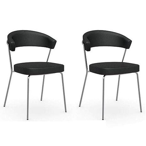 Inside - Juego de 2 sillas New York Design Italiana de Piel ...