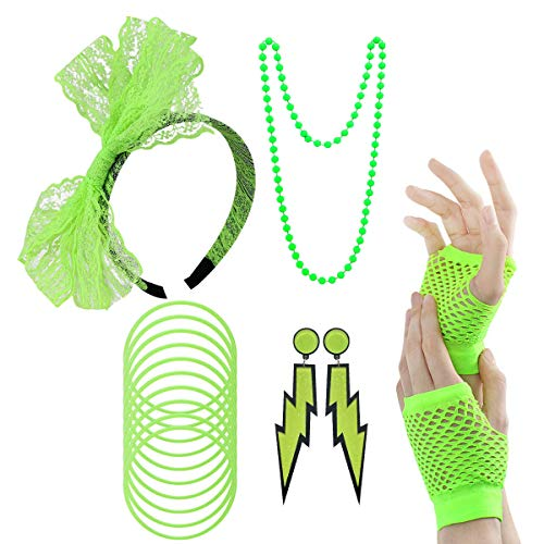 80s Outfit - Womens 80s Fancy Outfit Costumes Accessories Set Leg Warmers Fishnet Gloves Neon Earrings Bracelet and Beads ()