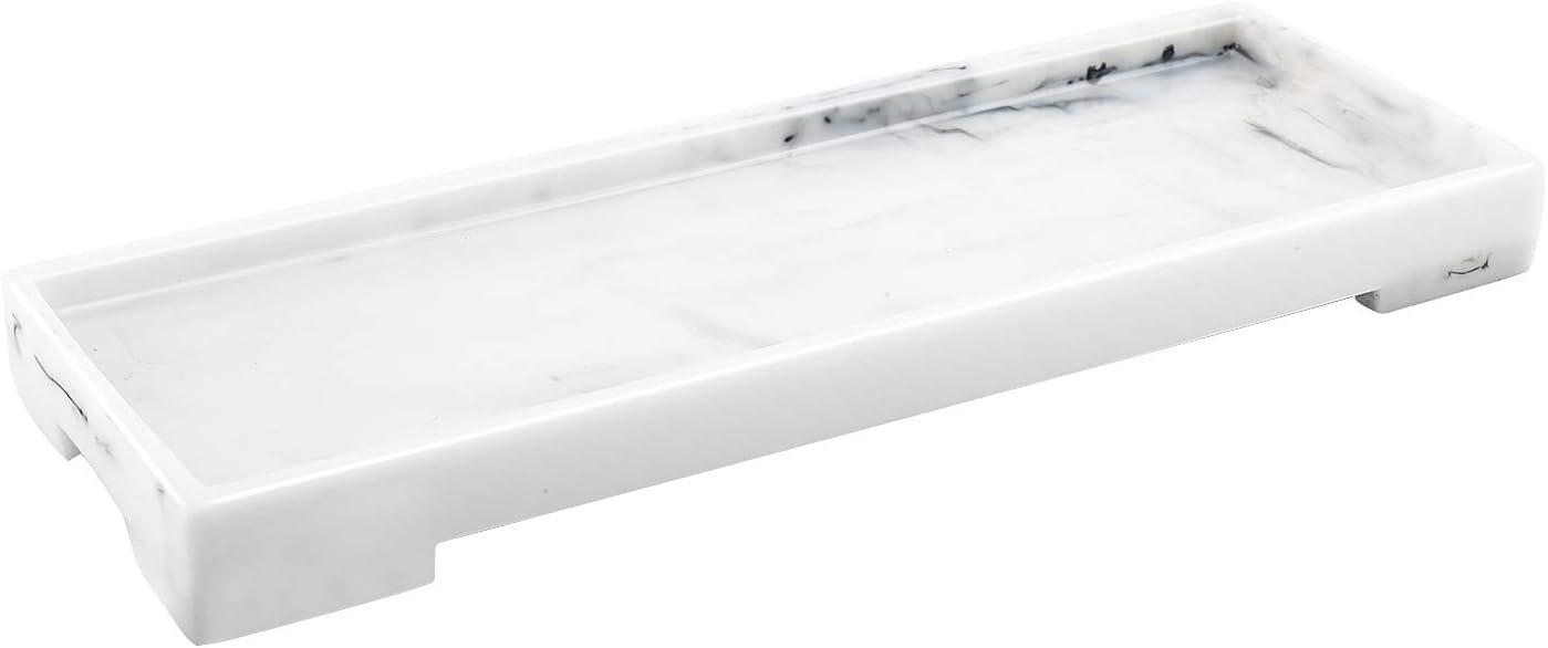 Luxspire Vanity Tray, Toilet Tank Storage Tray, Resin bathtub tray bathroom tray Marble Pattern Tray, Vanity Organizer for Tissues, Candles, Soap, Towel, Plant, etc - White Marble