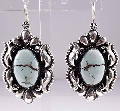 Navajo Sterling Silver High Grade Gobi Desert Turquoise Earrings Derrick Gordon ()
