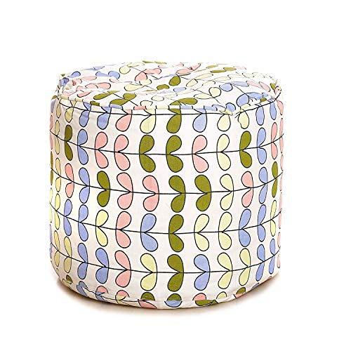 Style HomeZ Round Cotton Canvas Stripes Printed Bean Bag Ottoman Stool Large Cover Only, Multi Color (SH_BB_RP_CP_L_035_E)