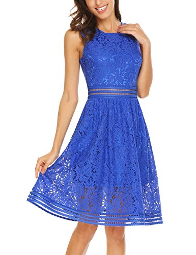 SE MIU Women's Vintage Floral Lace Sleeveless Cocktail Swing Dress Blue M