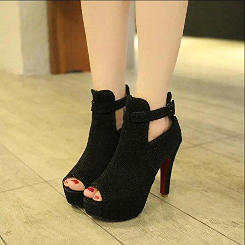 KHSKX-Impermeabilizacion De Zapatos De Mujer Nueva De Boca De Pescado Duro Talón Sandalias De Mujer Finos Tacones De Noche Tienda De Zapatos De Mujer Black Treinta Y Ocho Thirty-nine