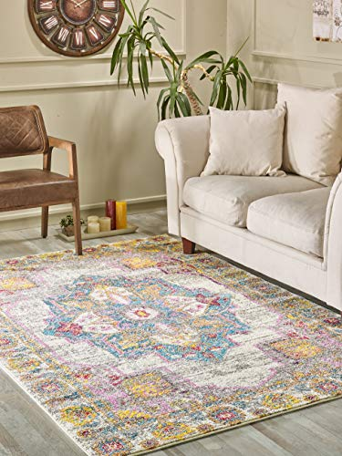 Golden Rugs Traditional Medallion Area Rug 8x10 Multi Color Cream Hand Touch Vintage Distressed Abstract Texture for Bedroom Living/Dining Room 7479 Melody Collection (8x10, Cream)