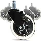 RevoSmooth Soft Rubber Office Chair Wheels Casters Replacement Rollerblade Style - for Hardwood Floor, Carpet, Gaming Caster (Set of 5)