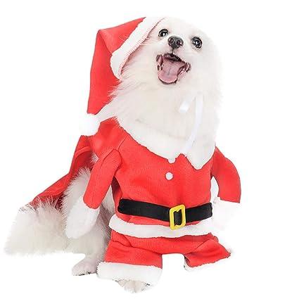 Gusspower Disfraz de Mascota de Navidad Traje de Perro con Gorro de Santa  Claus Escudo de db48a94b8f1