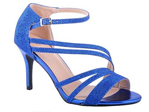 la Brillantes Real de de Novia Talones Boda Zapatos Sandalias Azul dwX5vwq