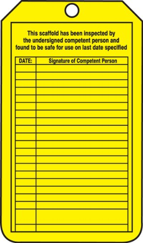 Accuform Signs TRS208CTP Scaffold Status Tag, Legend ''YELLOW TAG - THIS SCAFFOLD HAS BEEN ERECTED WITH MODIFICATIONS FOR SPECIFIC WORK - 100% TIE-OFF IS REQUIRED WHEN WORKING ON/FROM THIS SCAFFOLD'', 5.75'' Length x 3.25'' Width x 0.010'' Thickness, PF-Cardst by Accuform Signs (Image #1)
