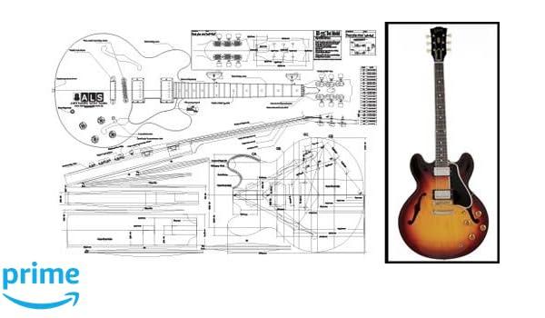 Plan de Gibson ES-335 guitarra eléctrica cuerpo hueco - Escala completa impresión: Amazon.es: Instrumentos musicales