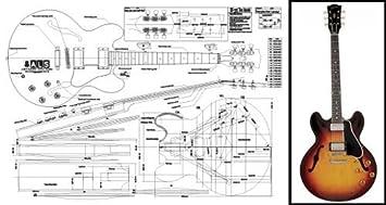 Plan de Gibson ES-335 guitarra eléctrica cuerpo hueco - Escala completa impresión