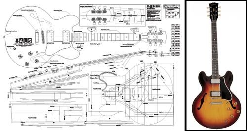 (Plan of Gibson ES-335 Hollow Body Electric Guitar - Full Scale Print )