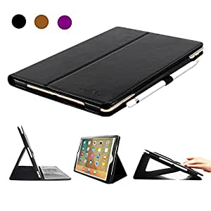 iPad Pro 9.7 Case, BoriYuan Vintage Genuine Leather Slim Folio Flip Stand Smart Cover for Apple iPad Pro 9.7 Inch with Magnetic Sleep / Wake Function + Card Slot + Stylus + Screen Protector, Black
