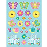 Pack of 48 Blue and Pink Hello Spring Easter Decorative Stickers 8.66''