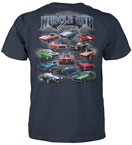 Superb Selection Muscle Car Heaven T-Shirt (X-Large, Heather Blue)