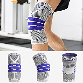 TiooDre Knee Support,Unisex Compression Sleeve Support Breathable Stretchy Knee Brace Medium Grey