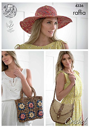 King Cole Ladies Raffia Crochet Pattern Womens Crocheted Hat & Shoulder or Square Handbag ()