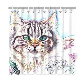 Decoración para el hogar Cortina de baño Gatos artísticos Pintura Animales Asas Tejido de poliéster Impermeable