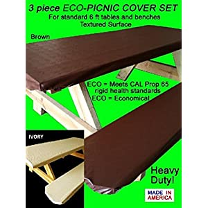 Embossed Pattern Stretch to fit 3 Pc Vinyl Picnic Table Cover fits 6 ft Tables and Benches Espresso Brown