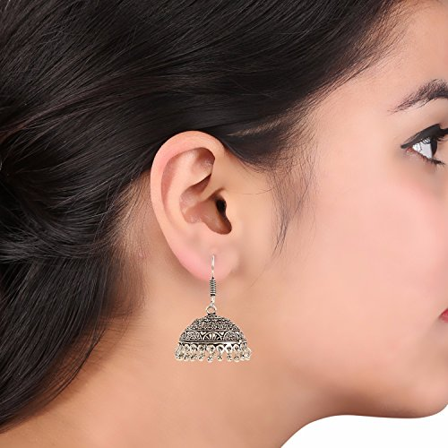 Efulgenz Boho Jewelry Indian Oxidized Silver Vintage Retro Ethnic Dangle Tribal Tibetan Gypsy Dangle Earrings for Girls Women by Efulgenz (Image #2)