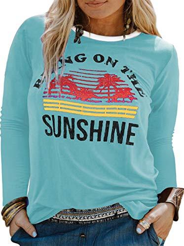 YASAKO Plus Size Women Tops Long Sleeve T Shirts Casual Tee Shirts Cute Graphic Tunic, Baby Blue, 2X-Large