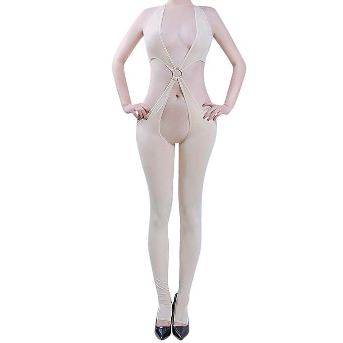 Donna: Abbigliamento Bodystocking A Rete Cavallo Aperto Sexy Bianco White Open Crotch Lingerie Body Biancheria Intima E Da Notte
