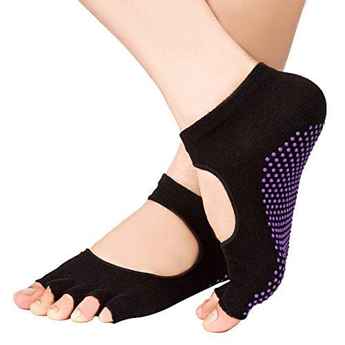Chengsan Yoga Half Toe Socks Silicone,Ballet /Pilates Elastic Women & Men Socks Open Toe(WZ01)