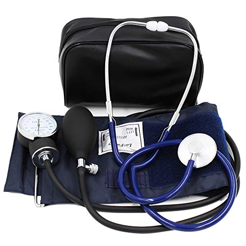 Manual Blood Pressure Kit - LotFancy Manual Blood Pressure Cuff, Aneroid Sphygmomanometer and Stethoscope Kit with Zipper Case, FDA Approved