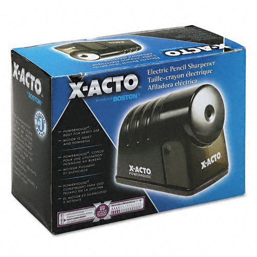 X-Acto 2012688 Powerhouse Heavy-Duty Electric Pencil Sharpener (Pack Of 2), Black, Quiet Operation, Hardened Helical Cutter for Maximum Precision and Durability, Suction Cup Feet for Safety