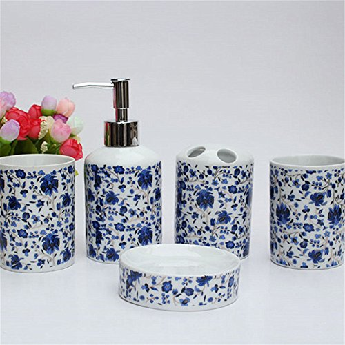 (JruF Round Blue And White Set Of 5 Bathroom Accessories Set - Blue Blue And White Porcelain Pattern Modern Dressing Accessories Set Including Tumbler, Toothbrush Holder And Lotion Bottle, Soap Dish)