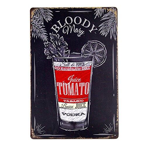 dingleiever DL-Tin Sign Nostalgic Alcohol Retro Bloody Mary Recipe ()