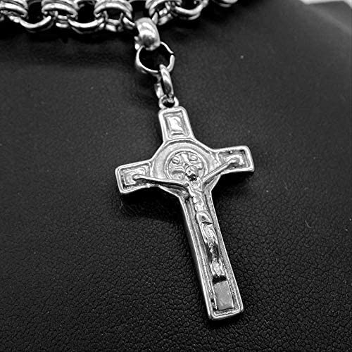 nobranded Stainless Steel Jesus Men's Cross Necklace Jewelry Christmas Silver Color Punk