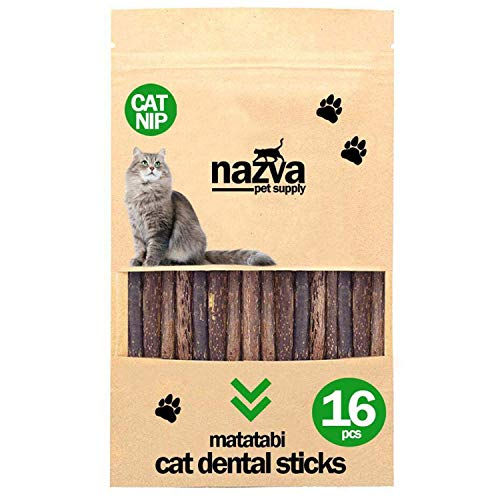 NAZVA Pets Supplies Catnip Toy Silvervine Matatabi Sticks - 16 pcs - Natural Toothbrush Cats Chew Toy and Dental Organic Treat