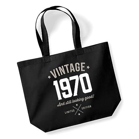 Bolsa de la compra, regalo de 50 cumpleaños o Navidad para mujer, recuerdo de 1968, tela, negro, Medium