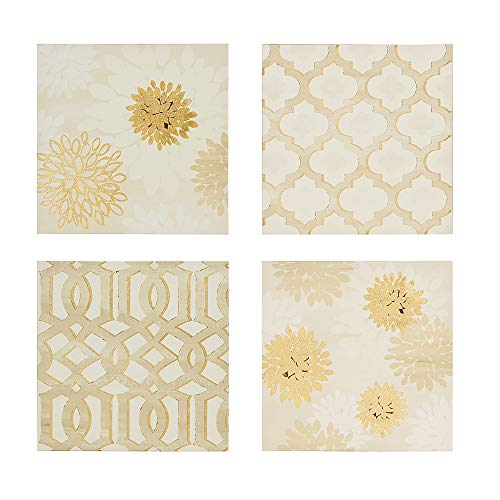 Madison Park Gilded Grandeur Wall Art - Canvas Home Décor 4 Piece Set, Floral, Geometric Ready to Hang Gold Foil Painting Decoration for Living Room, Gold (Art Gold Canvas)