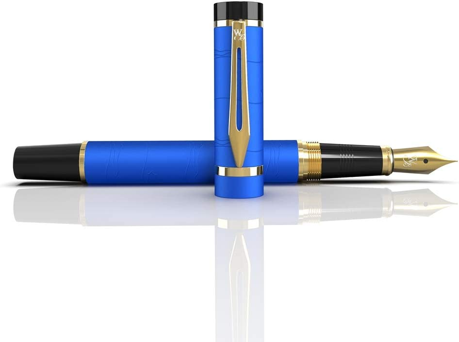 -Medium Nib-Journaling and Calligraphy-Smooth Writing Pens Wordsworth /& Black Primori Fountain Pen Set 6 Free Ink Cartridges /& Ink Refill Converter-Luxury Gift-Perfect for Men /& Women Blue Gold