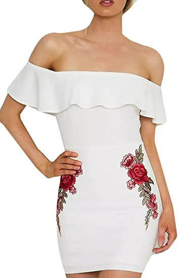 5900992c65d Image Unavailable. Image not available for. Color  MLG Womens Off Shoulder  Ruffle Rose Embroidered Bodycon Party Mini Dress White XXS