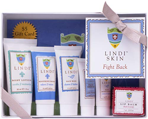 LINDI SKIN Fight Back Pack - Starter Kit That Includes Body Lotion, Soothing Balm, Face Wash, Lavender Face Serum, Face Moisturizer, and Lip Balm