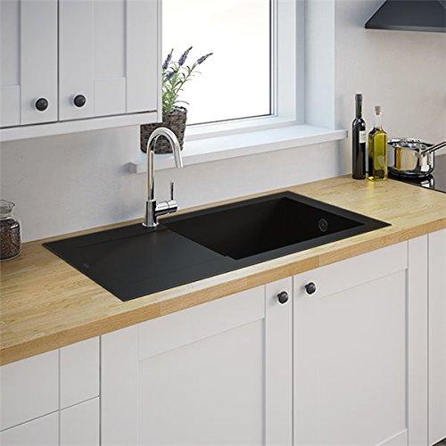 Autre - Evier de cuisine reversible Noir à encaster 1 bac XL en Minérale Composite Vidage automatique