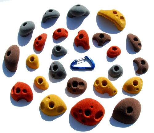 24 Climbing Holds Pack Bolt Ons for Kids Climbing Wall - Great for Preschoolers and Up - Earth Tones
